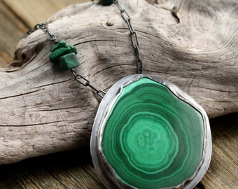 Greenheart Necklace in Sterling and Malachite