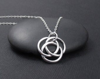 Infinite Circles Love Knot Necklace Sterling Silver Infinite Circles Necklace, Celtic Love Knot Necklace, Valentine's Gift