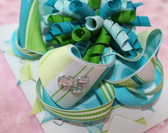 Greens & Blues- stripes and sparkles {Curly Brooke Hair Bow Barrette}
