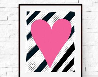 A4 Pink Heart Art Print