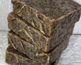 4 Bars Cup of Coffee Soap With Ground Coffee Handcrafted Goat Milk Soap, Made in Maine, Exfoliating Bar Soap, Coffee Scented Soap,