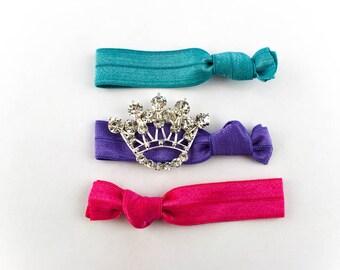 Crown Hair Tie Set - 3 Rhinestone and Elastic Hair Ties that Double as Bracelets