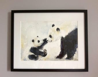 Panda print - panda bear - mother & baby - water colour painting - Giclee  print - A3 - A4 - nursery art