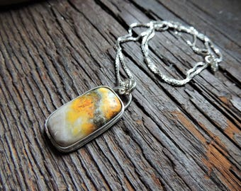Artisan Jewelry, Bumble Bee Jasper Pendant, Silver Bezel Gemstone, Silver Box Chain, Rustic Handcrafted, Urban Chic Jewelry, Casual