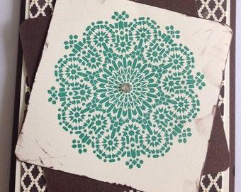 Mosaic Blank Handmade Greeting Card No Greeting