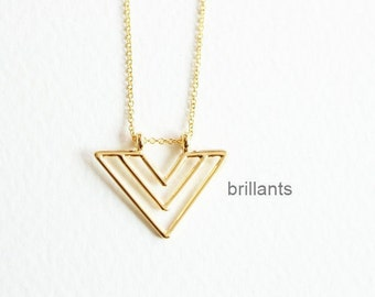 Triangle pendant Necklace, Arrow necklace, Chevron necklace, Geometric,  Bridesmaid gift, Everyday necklace, Wedding necklace, Simple
