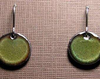 Short Dangle Earrings, Green Copper Enamel Jewelry, Sterling Silver French Hook Earwires, Olive Green, Handmade Earrings