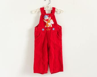 """Vintage 1980s Toddler Size 18M Overalls, Happy Kids Red Corduroy Overalls VGC Bear Riding Horse Applique, waist 20"""" inseam 10.5"""""""