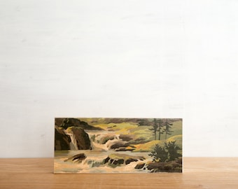 Paint by Number style Art Block 'River Rapids' -  mountain valley, waterfall, vintage landscape