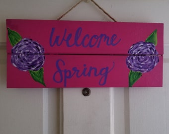 Hello Spring Hand lettered and Hand Painted Hanging Wood Sign
