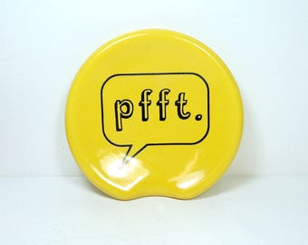 """handle-less spoon rest / spoon dish with """"pfft"""" word bubble print on Lemon Butter Yellow  READY to SHIP"""