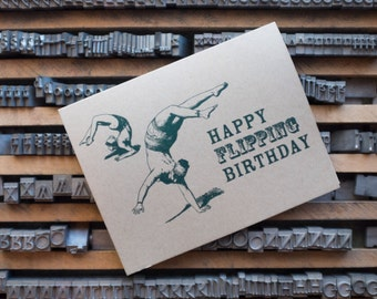 Happy Flipping Birthday / Letterpress Card / Forest Green / Kraft Paper / Kraft Envelope / Funny Birthday Card / Letterpress Birthday Card