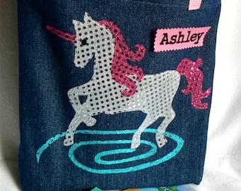 Girl Gift|Unicorn Tote Bag|Kids Personalized Book Bag|Party Gift Bag|Halloween Princess Tote Bag|Toddler Tote Bag|Preschool Book Bag