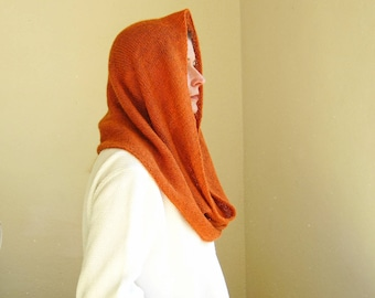 knit wrap infinity scarf cowl snood in burnt orange