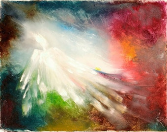 "Art Painting - Angel 2 - PALETTE KNIFE -  Art Oil Painting On Canvas By Irena Rudman - Size:16"" x 20"" (40.5 cm x 51 cm)"