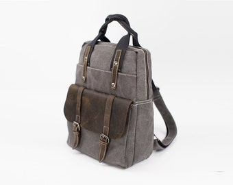 Vintage style Heritage Leather Canvas Backpack - Gray