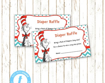 Dr. Suess | Cat in Hat Baby Shower Diaper Raffle Insert | Printable Editable Digital File | Instant Download | Templett | BSI242DR