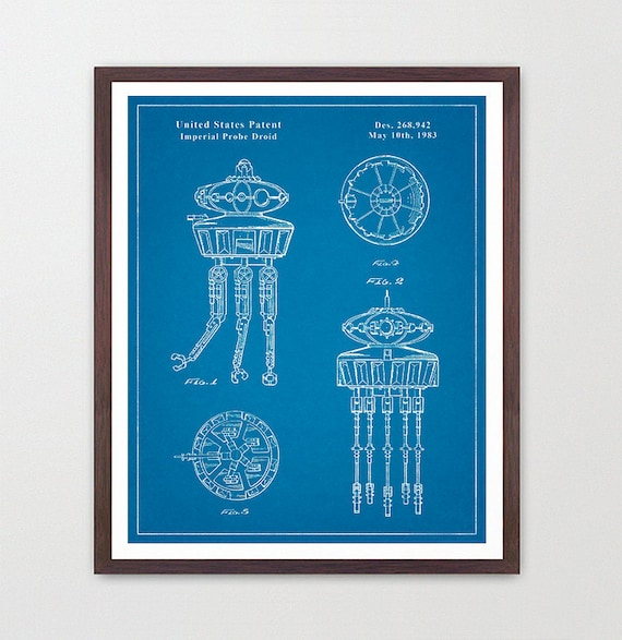 Star Wars - Imperial Probe Drone - Star Wars Patent - Star Wars Poster - Star Wars Art - Ewok Patent - Star Wars Wall Art - Sci Fi Patent