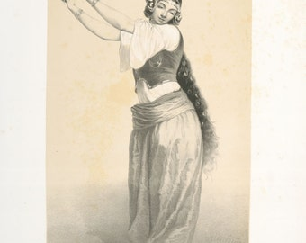 Dancing Girl - copy of illustration by Alexandre Bida from French publication 'Souvenirs d'Egypte' 1851