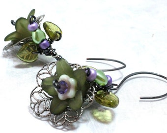 Flower and Hearts Vintage Inspired Earrings