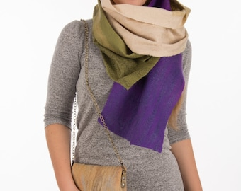 Nuno felted scarf, beautiful scarf, Felted stole, wool scarf, green and purple