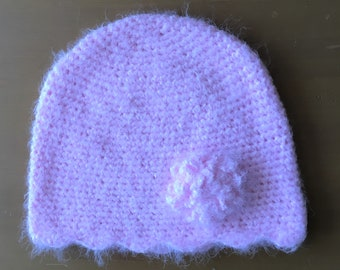 Women's Pink Crocheted Cap