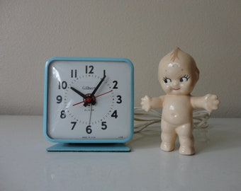 VINTAGE blue electric GILBERT alarm CLOCK - blue bedside clock - vintage alarm clock - hard to find gilbert clock - made in usa