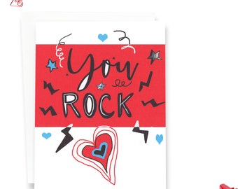 Friend Valentines Card - You Rock - Valentines Card - You Rock Greeting Card
