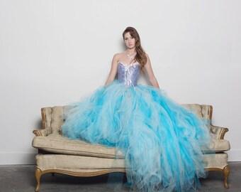 Blue Wedding Dress  - Tulle Dress - Full Skirt - Gown - Bridesmaid - Blue Dress - Blue Tulle Skirt - Blue Dress - Tutu Dress - Tulle Gown