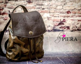 camo, camo leather, camouflage, leather, backpack, vintage, ready to ship