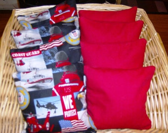 8 PC set of Corn hole Bags 4 U.S. Coast Guard print over Duck and 4 Red Duck Bags