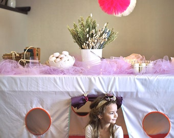 Girls party decoration set - tulle pom pom set  - best Quality - girls birthday party decorations - pink party decoratons