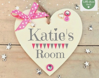 Kids Room Decor Sign Personalised Heart Name Print Keepsake