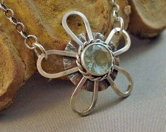 """Sterling Silver Flower pendant with faceted blue green Insulator Glass and sterling chain 26"""" long"""