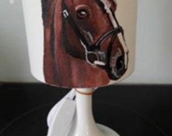 theme hand painted horse lamp