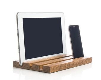 Wooden iPad stand Docking station iPhone doc Desktop organizer Charging station Phone stand iPad holder Wood station Kitchen gadget stand