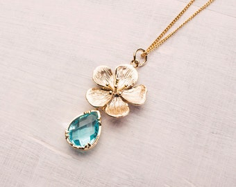 Cherry Blossom Necklace Turquoise
