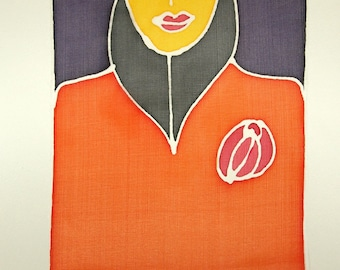 FREE SHIPPING Silk Painting - Original Painting - Liberty Style Woman