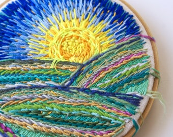 SUNRISE OVER IOWA, Embroidery Hoop Textile Art Piece, Small Landscape Wall Decor, Blue Green Yellow Floss Painting