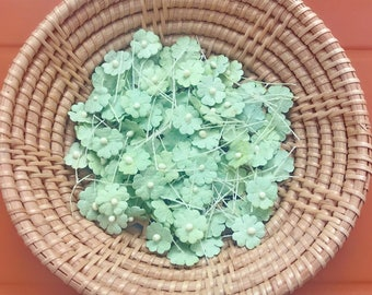 50 Tiny forest green color mulberry paper flower embellishment with thread stem for Craft & D.I.Y(Size 10 mm) #163