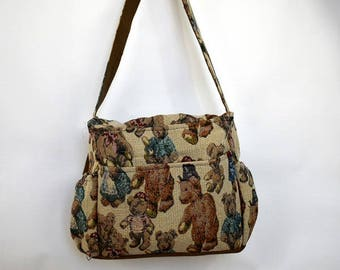 diaper bag, teddy bears, tapestry bag, bag with pockets, large bag, long strap, side pockets, zipper pocket