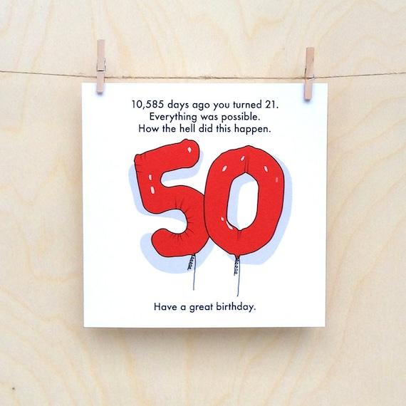 50th Birthday Card, Funny 50th card, Funny age card, Funny birthday card