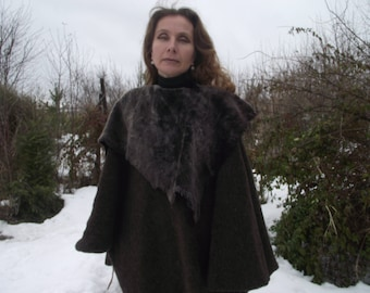 Brown elven medieval woolen cloak with leather collar