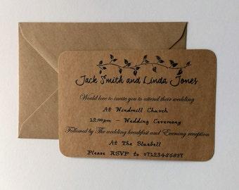 Vintage wedding Invitation, Country wedding Invite, Rustic wedding.