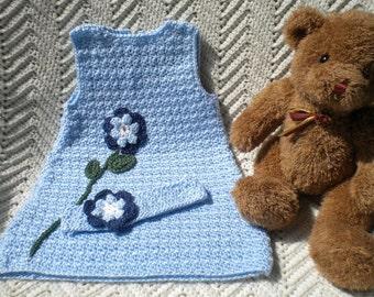 Crocheted SunDress Jumper Toddler 2T Lt Blue Crochet Flower Matching Headband