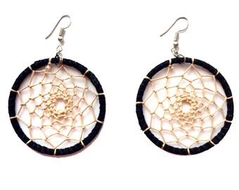 DREAMCATCHER earrings,Black beige earrings-festival jewelry-Boho earrings-Bohemian Gypsy jewelry-Coachella-leather earrings AE123BL