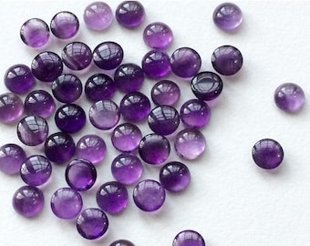 Amethyst Cabochon Lot, 6 Pieces, 5 Carats, Round Plain Calibrated Amethyst, 6mm Each, Loose Amethyst Cabochons