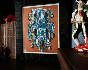 KAMEEN #154 | ein Unikat Monoprint, Retro-viktorianische Kunst in Cyan blau, metallic-Kupfer (8 x 10)