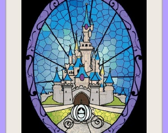 Cinderella castle stained galss, cross stitch pattern, cross stitch castle, cross stitch disney, cinderella, PDF pattern - instant download!