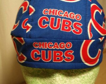 Chicago Cubs Skull Cap Helmet Lined Du Rag hat chemo cap surgical hat motorcycle biker head wrap MLB Baseball Chef Hat Do Rag